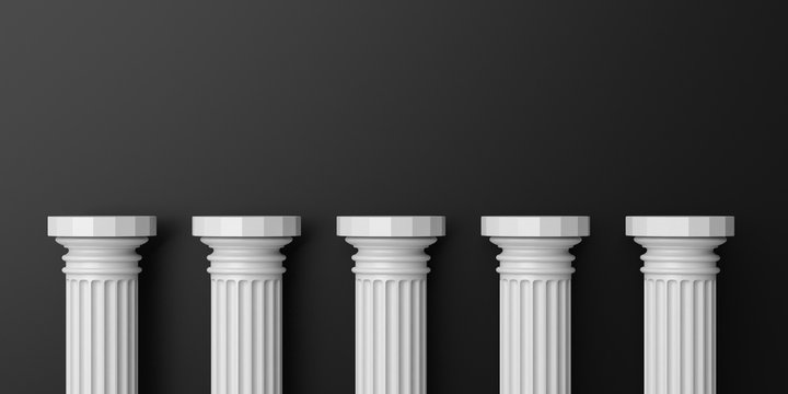 Five white color marble pillars against black wall background. 3d illustration
