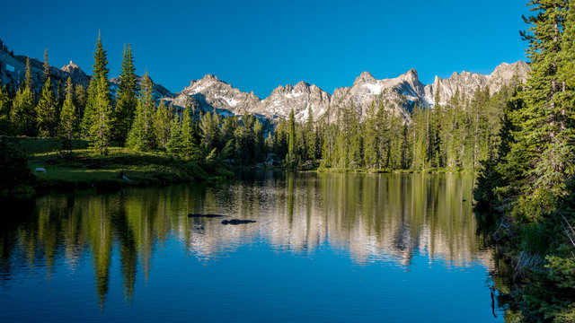 Beautiful mountain scene in Idaho with Lake Mountains and forest