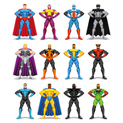 Set Of Different Superheroes Isolated On White Background
