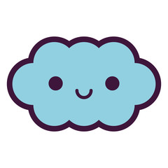 Cute Happy Cloud Isolated On White Background