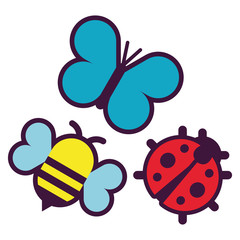 Set Of Cartoon Cute Insects Isolated