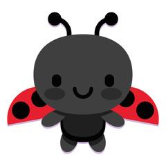 Cute Cartoon Ladybug Isolated On White Background