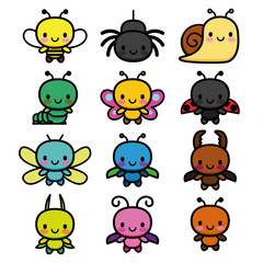 Set Of Cartoon Cute Bugs Isolated
