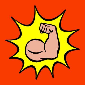 Bodybuilder Biceps Flex Arm Vector Icon