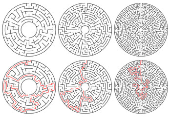 Circular mazes. 3 version with different complexity.