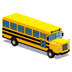 Illustration Of School Bus Car Isolated On White Background