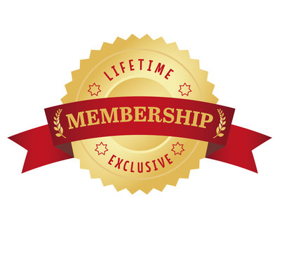 Membership seal with red curved banner. Exclusive and lifetime a