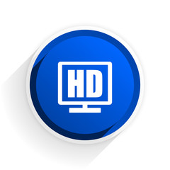 hd display flat icon with shadow on white background, blue modern design web element