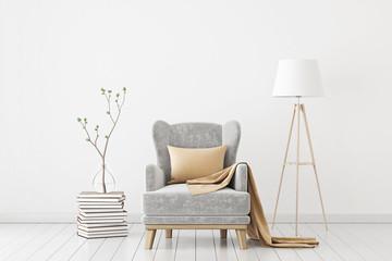 Fototapeta Neutral interior with velvet armchair on empty white wall background. 3D rendering. obraz