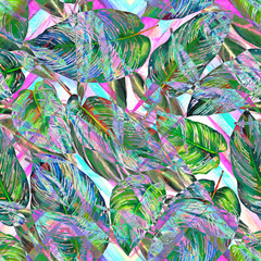 Tropical foliage seamless pattern. Colorful watercolor leaves of exotic Calathea Whitestar plant on zigzag geometric pattern, blended effect, vibrant tones. Textile print.