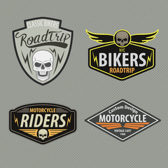 motor racing emblem set,sticker,arms,vector illustration