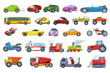 Vector set of transport vehicles illustrations.