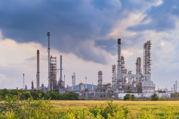 Refinery in a morning cloudy day