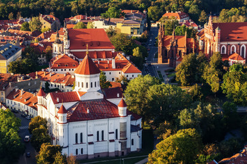 Center of Vilnius, Lithuania. Aerial view from piloted flying object.