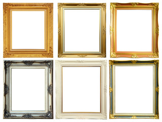 Set of vintage photo frame on white clipping path.