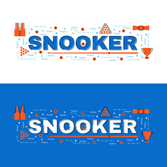 Snooker banner, snooker lettering flat line design with icons