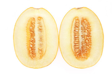 Cut melon on white