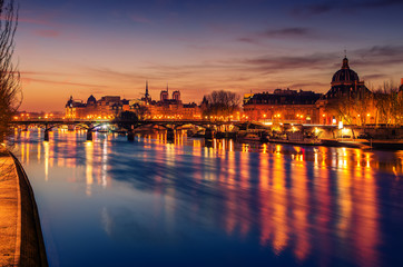 Paris, Frence: Seine river and Old Town of in sunrise