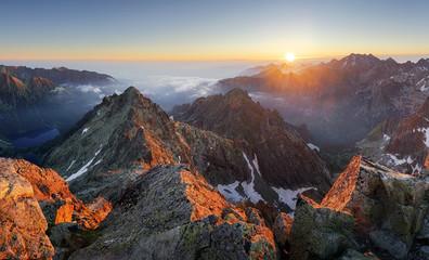 Obraz Mountain sunset panorama landscape in Tatras, Rysy, Slovakia - fototapety do salonu