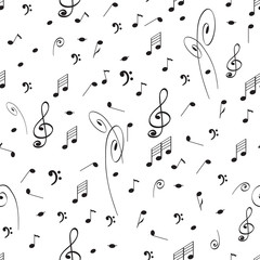 Abstract music seamless pattern background with black notes and treble clef.