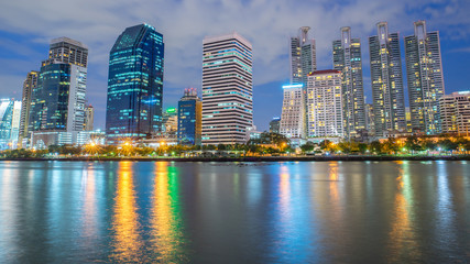 night cityscape Suan benja kitti in Bangkok ,Thailand.