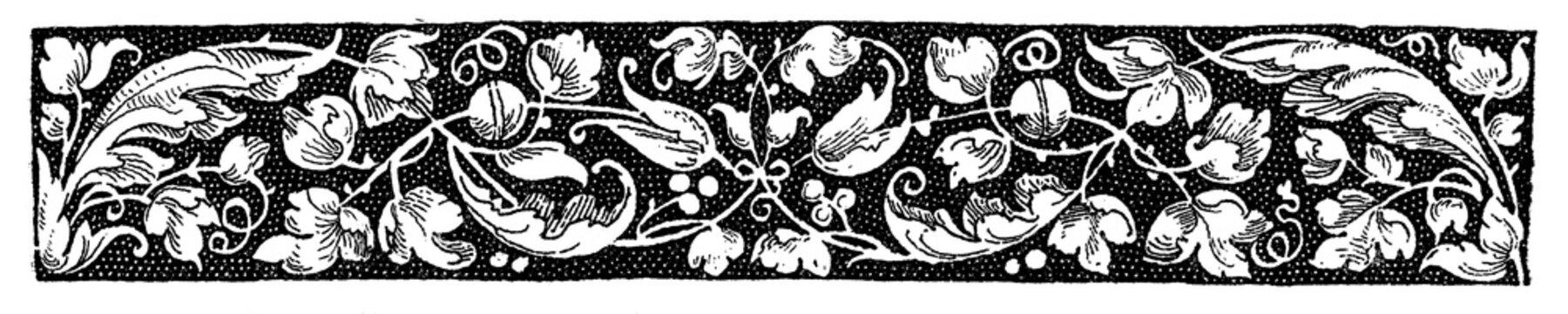 Typographic decorative border from  XVI century
