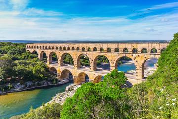 Three-tiered aqueduct Pont du Gard and natural park
