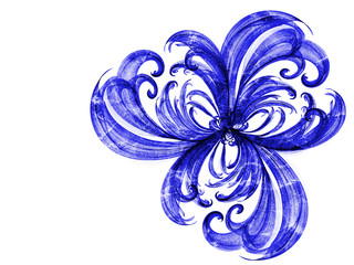 blue flower style smoke line fire ornament background