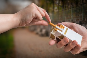 Hand is taking cigarette from cigarette pack an accepting an offer.