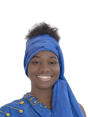 Portrait of a young Afro beauty dressed for a celebration, isolated