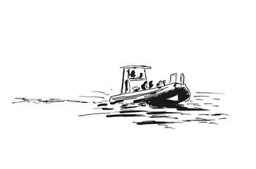 Sketch of motor boat