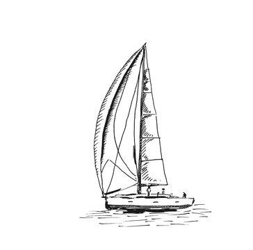 Sketch of Sailing yacht. Vector sketch illustration.