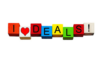 I Love Deals, sign for bargains, cash & business! Isolated.