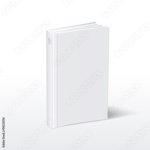 blank vertical white softcover book standing on table perspective