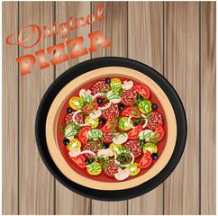 Вкусная домашняя пицца на деревянном фоне