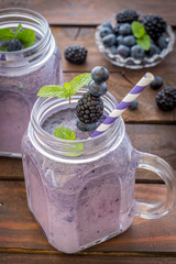 Fresh Blueberries Blended With Yogurt