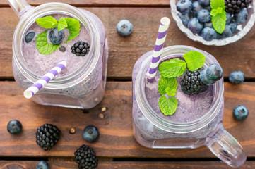 Fresh Blueberries Blended With Yogurt