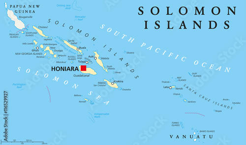Solomon Islands political map with capital Honiara on Guadalcanal