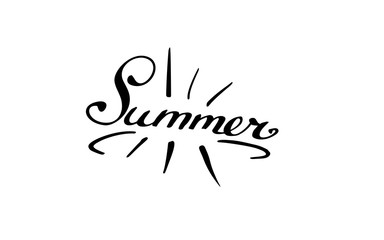lettering composition. Isolated phrase Summer on white background.