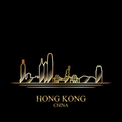 Gold silhouette of Hong Kong on black background