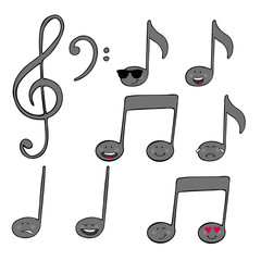 music notes with facial expression