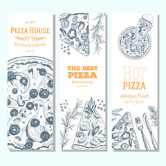 Pizza banner design template. Flyer design collection. Vector illustration drawn with ink. Vertical vintage banner set.