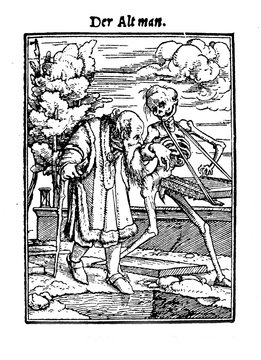 """XV century, Illustration by Hans Lützelburger inspired to Hans Holbein's """"Totentanz"""" of an old man walking hand in hand with Death"""