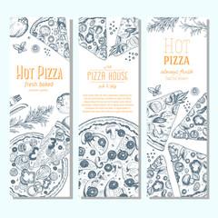 Pizza banner design template. Flyer design collection. Vector illustration drawn with ink. Vertical vintage banner set.