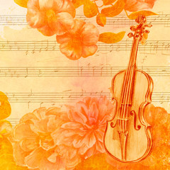 Vintage style golden toned collage with violin and flowers