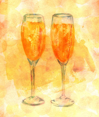 Watercolor drawing of two flute glasses of sparkling wine