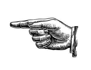 Hand drawn retro forefinger. Vector illustration