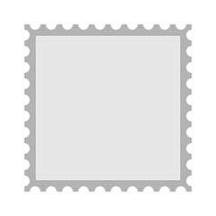 Simple blank grey square postage stamp icon. Isolated vector illustration.