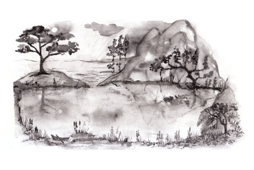 Lake with trees in fog. Traditional Japanese ink painting sumi-e on white background.