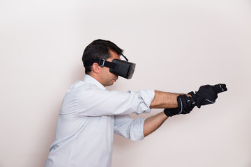 Man playing a virtual reality video game